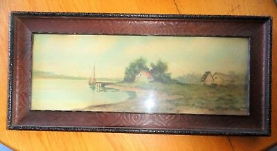 Antique Carved Wood Frame w Farm Seascape Sailboat Painting