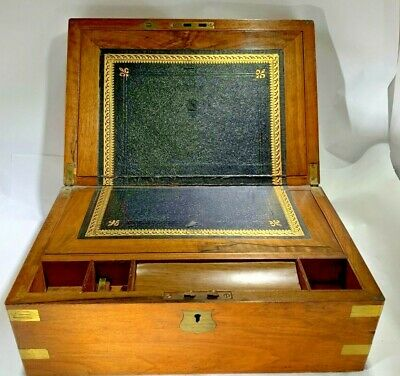 Antique English Campaign Brass Accents Lap Desk Traveling Writing Box