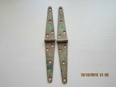 "2 Vintage Barn Door Gate STRAP HINGES Rustic Rusty Old Paint Decor 10"" x 1"""