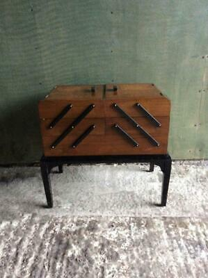 1950's Walnut and Ebonised cantilever sewing work box by Chard products