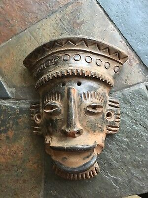 Pre-Columbian Style Terra Cotta Mask-Reproduction