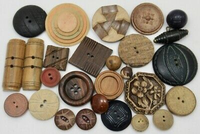 Vintage Antique Wood Buttons ~ Mixed Shapes, Designs, Sizes, Species ~ Lot of 27