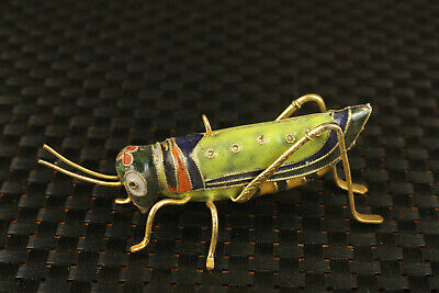 rare Chinese Old cloisonne Handcarved locust statue high-class pendant gift