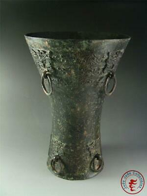 Very Large Antique Vintage Old Chinese Bronze Made Vase Vessel Statue