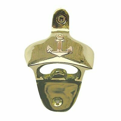 Wall Bottle Opener with Anchor, Maritime Cap Lifter Polished Brass