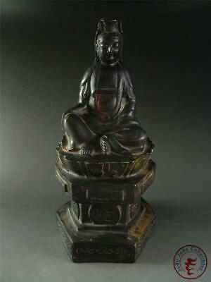 Large Antique Old Chinese Tibet Bronze Made Tibetan Kwanyin Consort Statue Qing