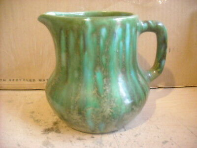 Vintage Bar Harbor Maine Pottery - Green And Aqua Small Pitcher Very Nice