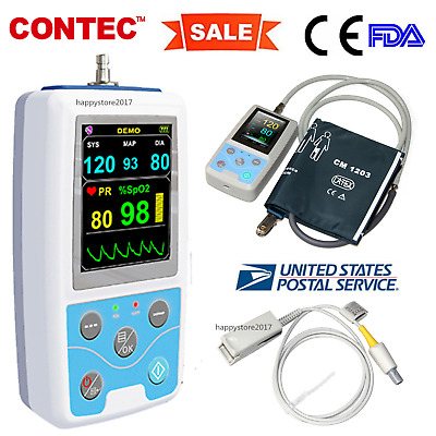 CE&FDA PM50 Portable Patient Monitor Vital Signs ,Adult Cuff + Adult SP02 Probe,