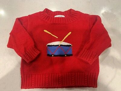 Vintage Florence Eiseman Infant Red Drum Christmas Sweater Little Drummer  6-12M