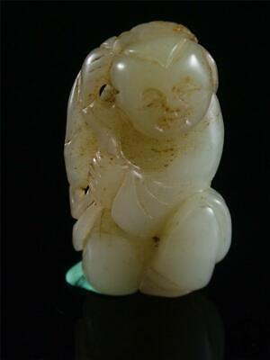 Antique Vintage Old Chinese Celadon Nephrite Jade Statue Toggle fairy boy w/ cor