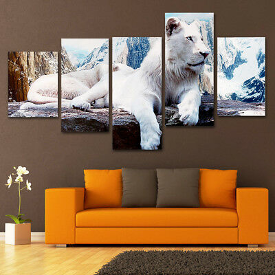 5Pcs White Lion Canvas Print Painting Wall Art Picture Home Room Decor H