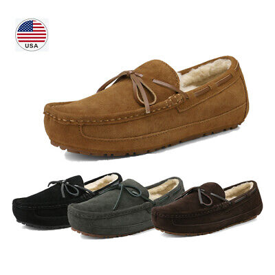 Men Suede Leather Faux Fur Lined Slip On Loafer Indoor Outdoor Moccasin Slippers