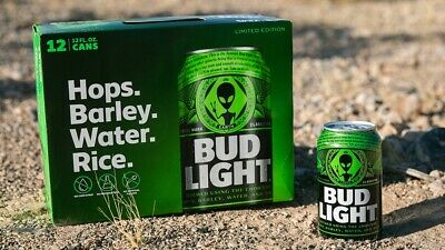 Bud Light Area 51 Limited Edition 12/12pk Can Alien Green Can.