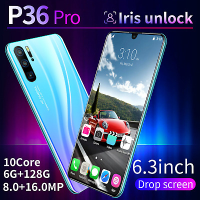"P36Pro Smartphone Android 9.1 6GB+128GB 6.3"" Mobile Dual SIM Mobile Smart Phone"