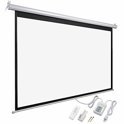 "92"" 16:9 Electric Motorized Projector Screen w/ Remote Control Movie Projection"