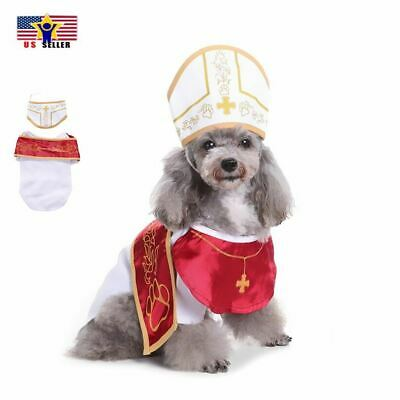 Cute Funny Pope Dog Puppy Cat Costume Halloween Clothes Dress Up Hat Cosplay