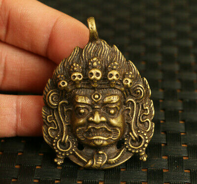 rare old bronze Handcarved Tibet Buddha statue pendant decoration gift