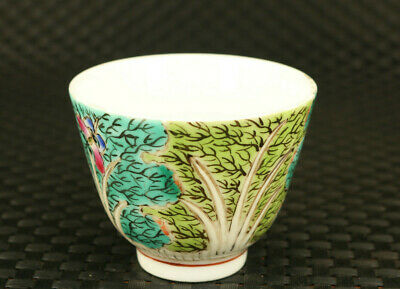 chinese old porcelain hand painting flower statue tea cup bowl delicate gift