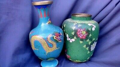 Antique CHINESE GOOSENECK VASE CLOISONNE QING DYNASTY Dragons NEEDS REPAIRS
