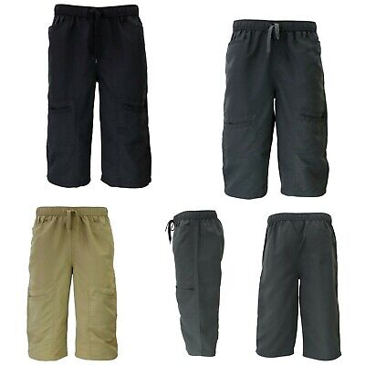 Mens 3/4 Cargo Long Shorts Zipped Multi Pocket Elastic Waist Drawstring