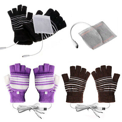 Laptop Women Men USB Heated Mitten Full Half Finger Winter Warm Knit Hand Gloves