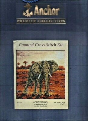 African Dawn, Elephant,Anchor Cross Stitch Chart With Threads
