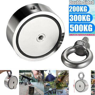 200/300/500KG Double Side Neodymium Magnet Hook Detector Fishing With 5M Rope