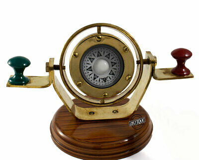 Marine Antique Style Shiny Brass Handmade Wood Compass Marine Navy Gifts Gimbal