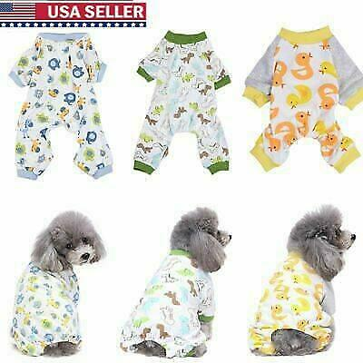 Small Dog Soft Dog Cotton Pajamas Sleepwear Clothes Pet Jumpsuit Coat Apparel