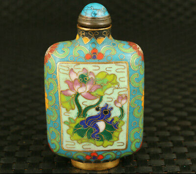 Rare Chinese old cloisonne hand painting lotus frog statue snuff bottle gift