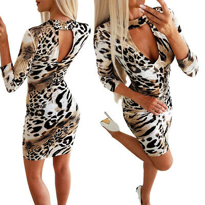 Damen Sexy Plunge V Ausschnitt Minikleid Leopard Party Club Bodycon Kleider