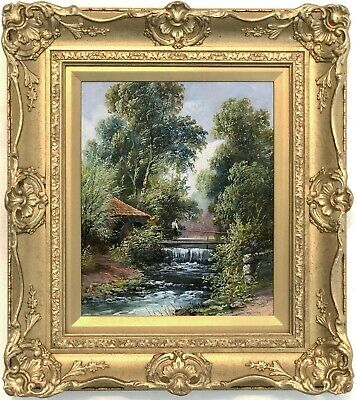 Water Mill in a River Landscape Antique Oil Painting 19th Century English School
