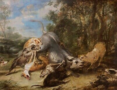 Hounds Attacking the Bull Old Master Oil Painting 17th Century Flemish School