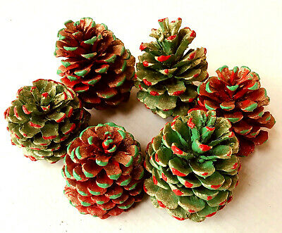 """6 Painted PINE CONES 3 Red 3 Green with Gold GLITTER  3-3 1/2"""" H ~ 2 1/2-3"""" W"""