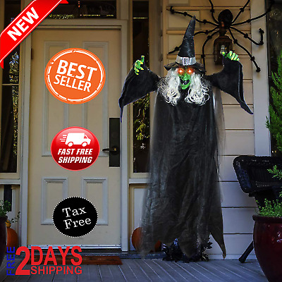 Life Size Animated Witch with LED Eyes and Spooky Sounds- Halloween Decorations
