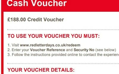 Red Letter Days Gift Credit Voucher Value £188