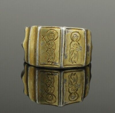 Beautiful Ancient Medieval Iconographic Silver Gilt Ring - Circa 15Th Century Ad