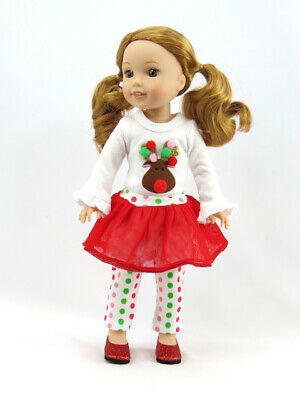 "Christmas Reindeer Skirt Leggings Outfit For 14.5"" Wellie Wishers Doll Clothes"