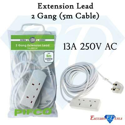 2 Gang Extension Lead 5m Cable - UK Socket Power Mains Plug, Pifco - CE Approved
