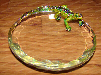 Lizard Candy Dish (Reptile, 3695) Australian Crystals, Pewter Baked Enamel