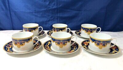 Bernardaud Limoges Porcelain Roma Bleu Set 6 Teacup & saucer NEW IN BOX