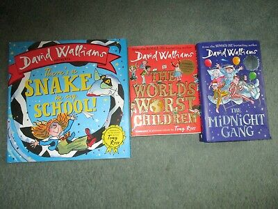 3 David Walliams books The Worlds Worst Children, The Midnight Gang and There's