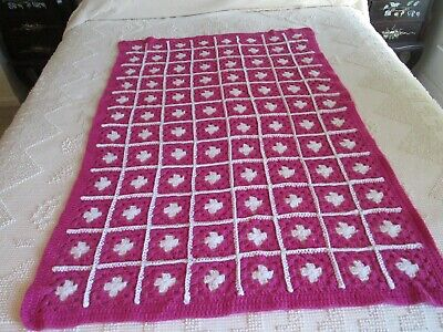 """Pink Hand Crocheted GRANNY Afghan Baby Crib Blanket Lap Throw  36 by 52"""""""