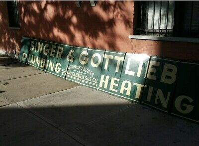 Vintage  1930's Singer & Gottlieb Plumbing & Heating Sign From Brooklyn, NY