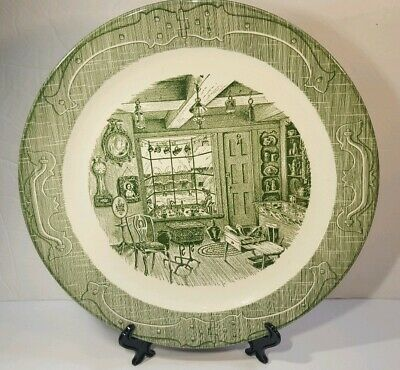 The Old Curiosity Shop Royal Chop Plate 13 1/4 Round Platter Green Underglaze