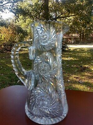 American Brilliant LargeCut Glass Pitcher, 8.6 lbs, 26 cm's tall, and gorgeous!