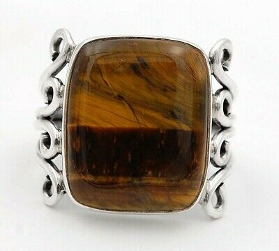 Wonderful Art A+ Tiger Eye 925 Solid Sterling Silver Ring Jewelry Sz 5.75 1C3-1