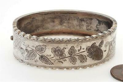 PRETTY ANTIQUE ENGLISH SILVER ENGRAVED FLOWERS BANGLE c1890 NO RESERVE