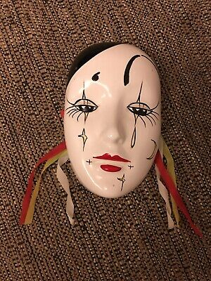 Vintage Ceramic pierrot style hanging wall mask Glazed Hand Painted Home Decor