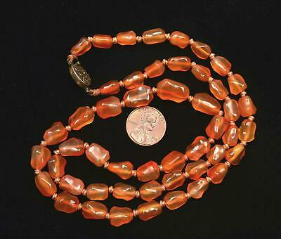 Chinese Agate Carnelian Carved Carving Pebble Bead Necklace Gilt Silver Clip